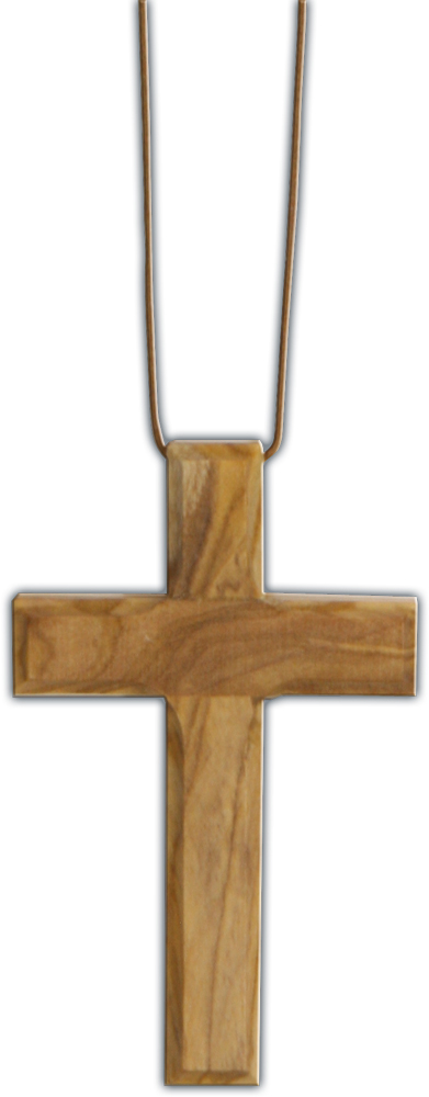 Olive Wood Cross Pendant w/ 30