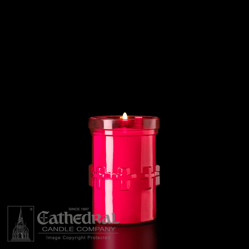 Plastic Devotional Lights | 3 Day | Ruby | Cathedral Candle