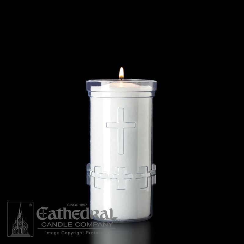 Plastic Devotional Lights | 5 Day | Crystal | Cathedral Candle