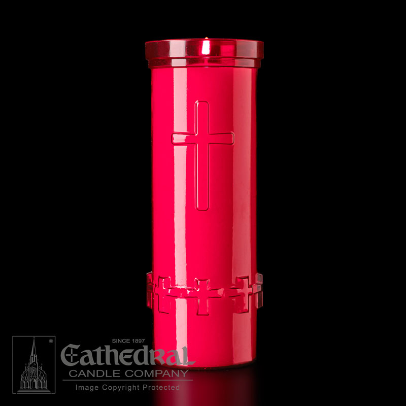 Plastic Devotional Lights | 6 Day | Ruby | Cathedral Candle
