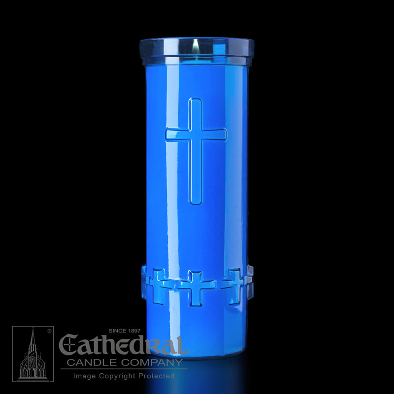 Plastic Devotional Lights | 6 Day | Blue | Cathedral Candle
