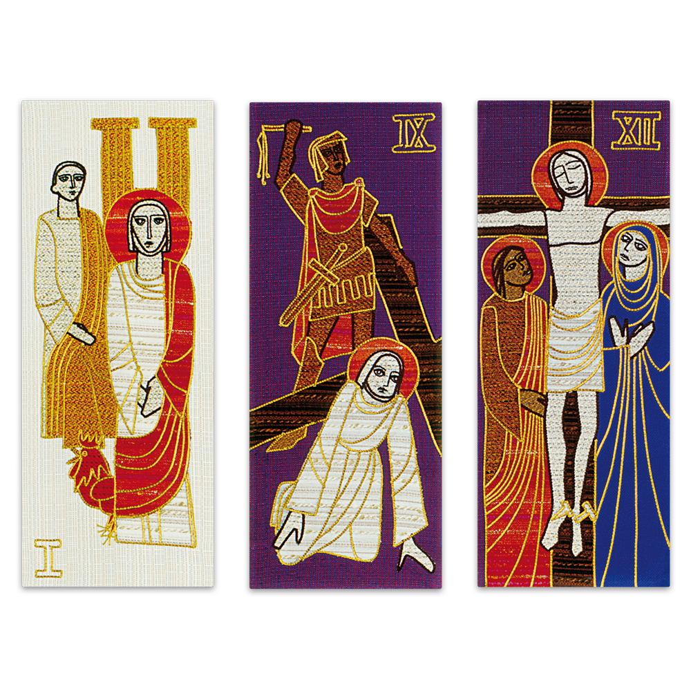Embroidered Stations of the Cross Tapestries