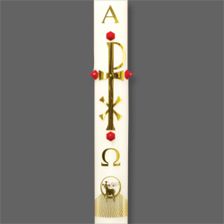 Paschal Candle Shell - Brass Chi Rho