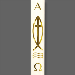 Paschal Candle Shell - Brass Cross and Fish
