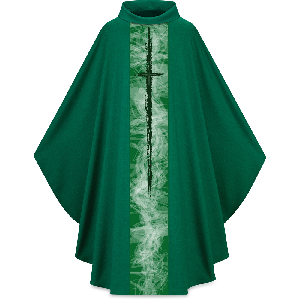 Lightweight Chasuble | Cross Motif 5249 | Green