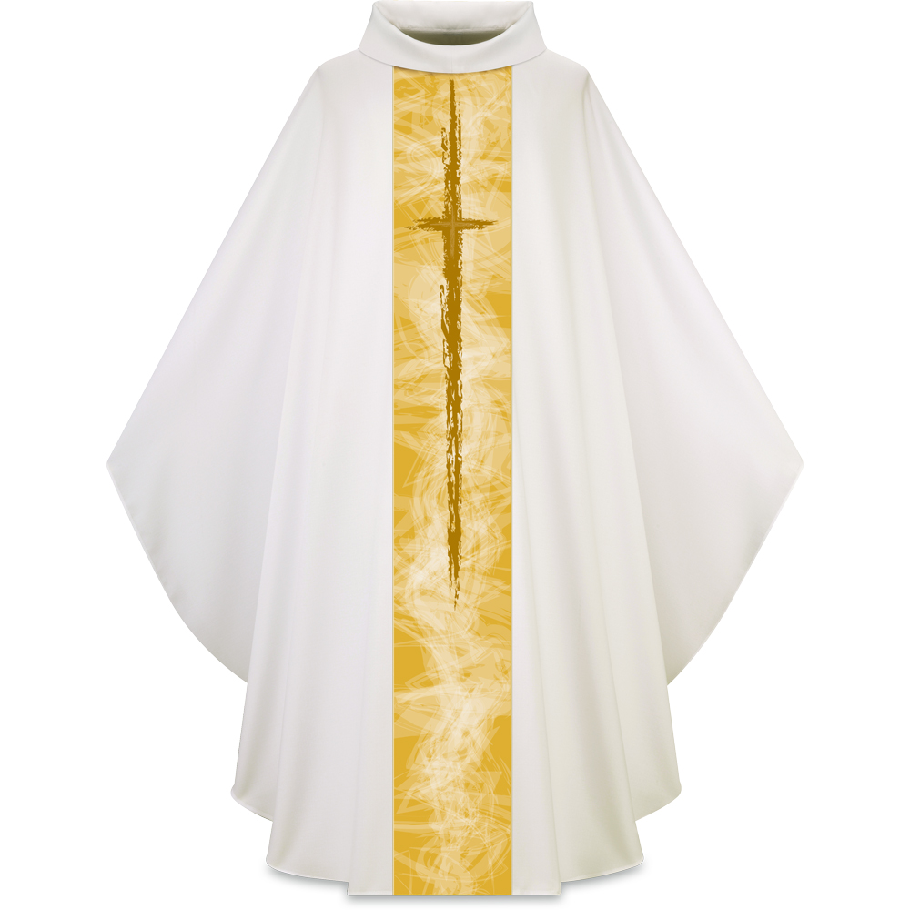 Lightweight Chasuble | Cross Motif 5249 | White
