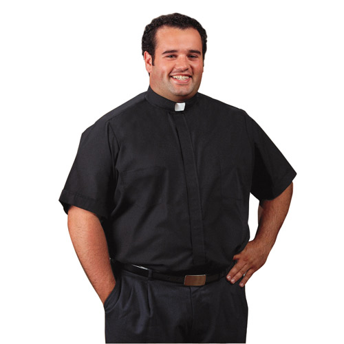 Roomey Toomey Big and Tall Clergy Shirt | Short Sleeve Tab Collar