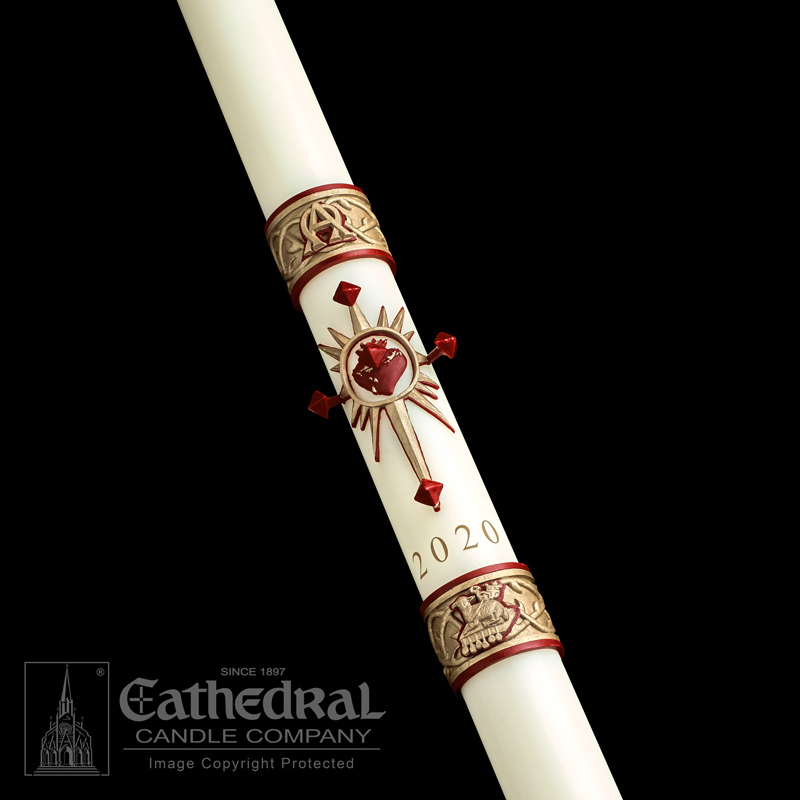 Paschal Candle | Sacred Heart | Sculptwax