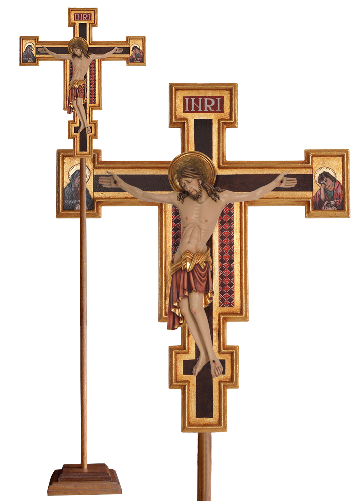 Wood Processional Crucifix | Cimabue San Damiano | 87 inches