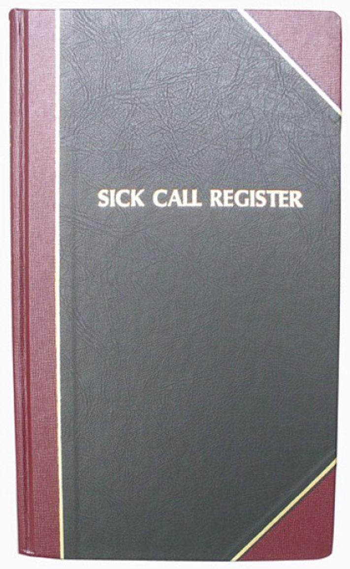 Sick Call Record Book  Register | 2500 entries | #188