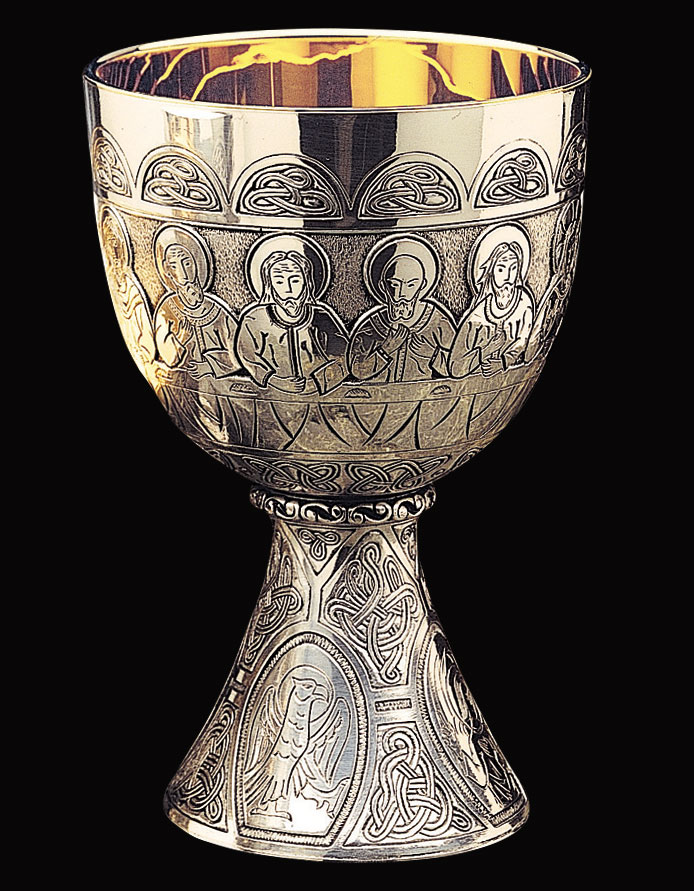 Silver Chalice | Last Supper and Four Evangelists | 16 oz