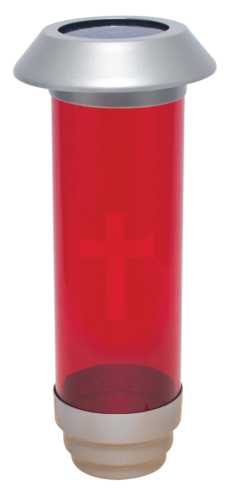 Solar Powered Cemetery Light | Red with Etched Cross