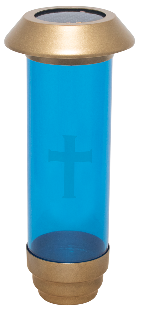 Solar Powered Cemetery Light | Blue with Etched Cross