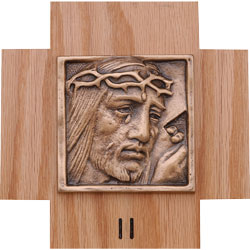 Stations of the Cross - Bronze, wood plaque