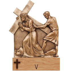 Stations of the Cross - Bronze, wood base