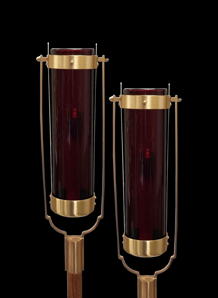 Swinging Processional Torch | Red Globe | per pair
