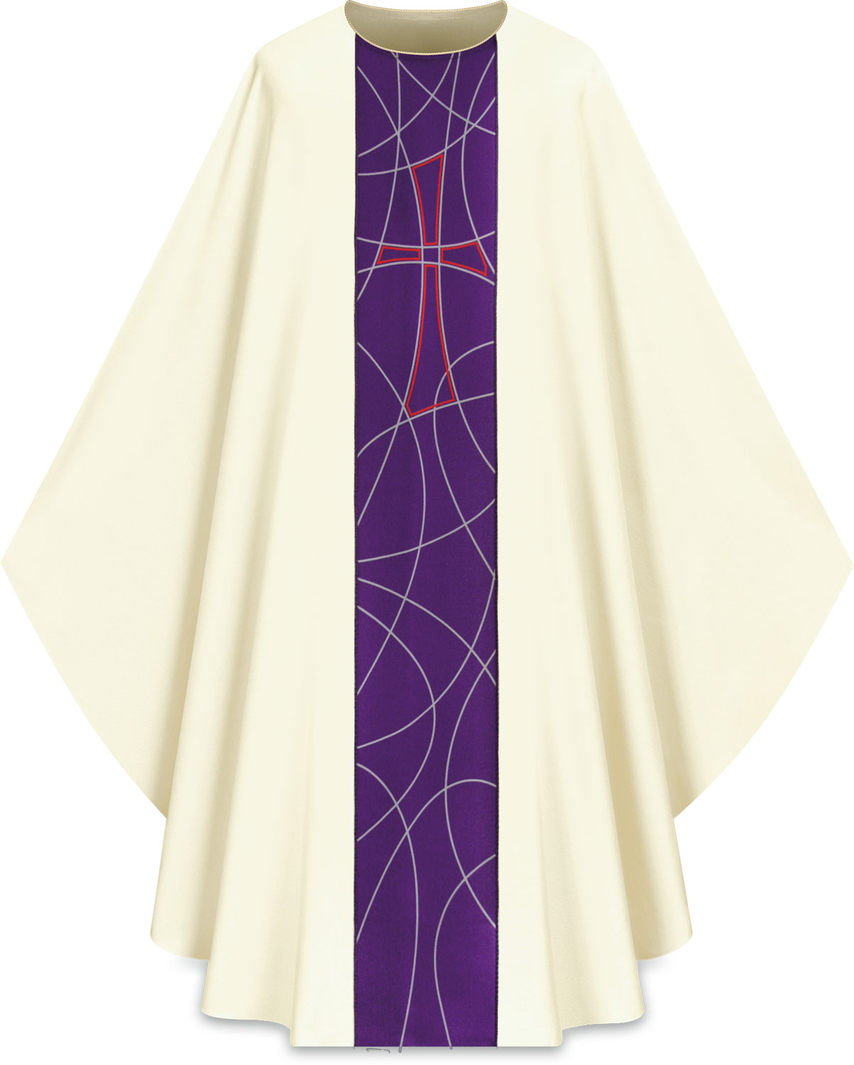 Chasuble | White Purple | 5229 | Slabbinck