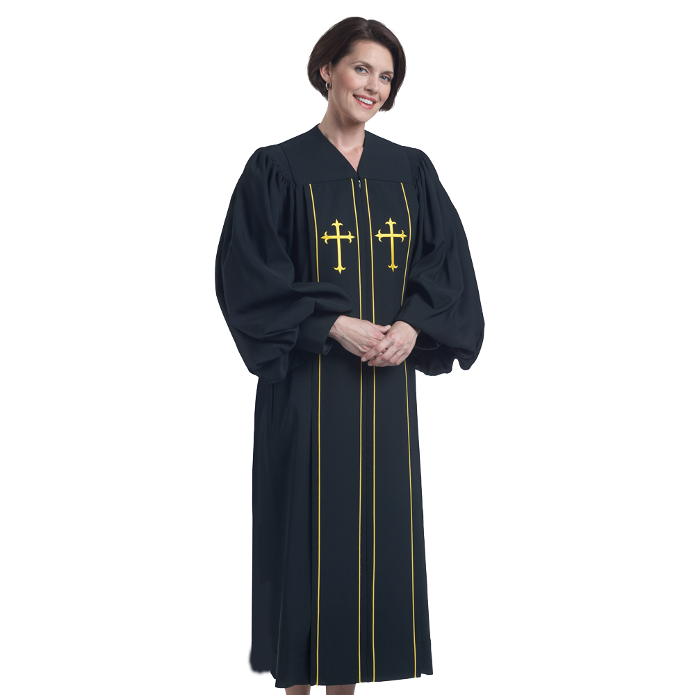 Women's Clergy Robe | Black with Gold | PilgrimPlymouth H-3