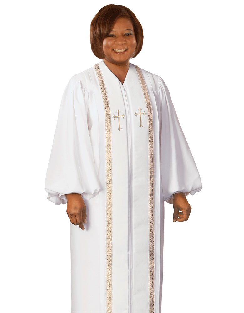 Women's Clergy Robe | White | RT Wesley H-94F