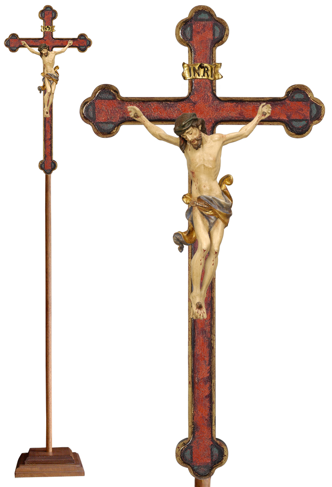 Wood Processional Crucifix | Lightweight | 75 inches | Budded Baroque Cross, Leonardo Corpus