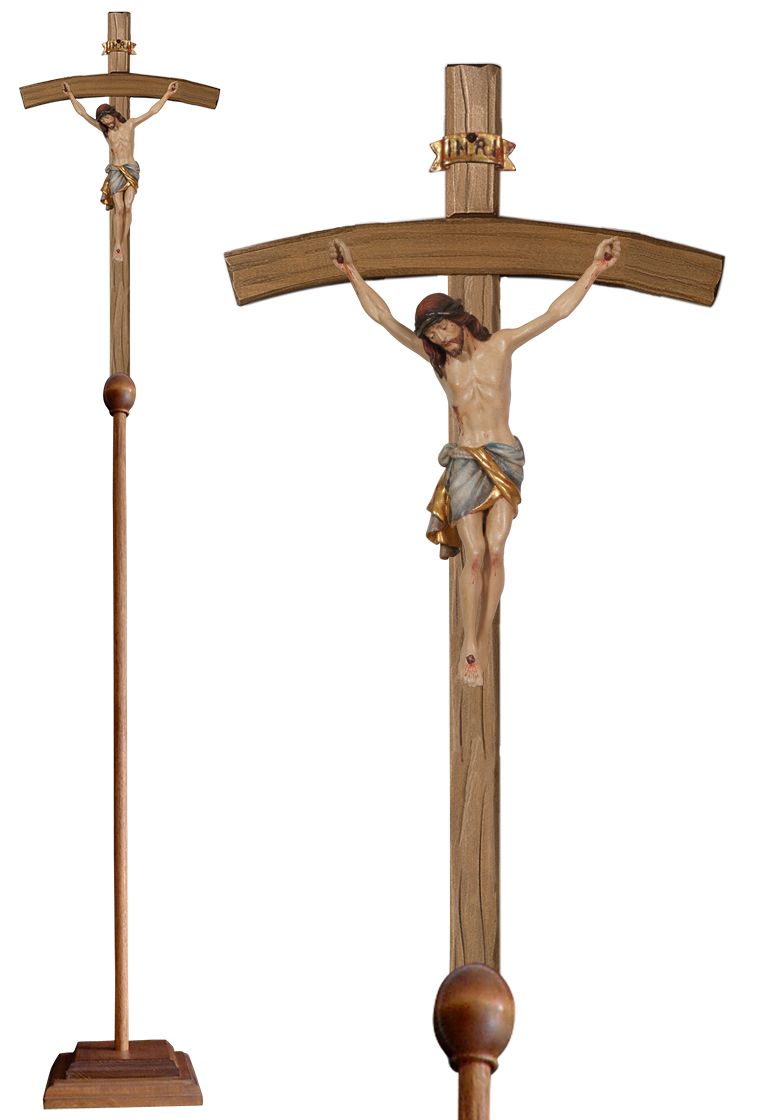 Wood Processional Crucifix | Lightweight | 79 inches | Bent Cross, Siena Corpus