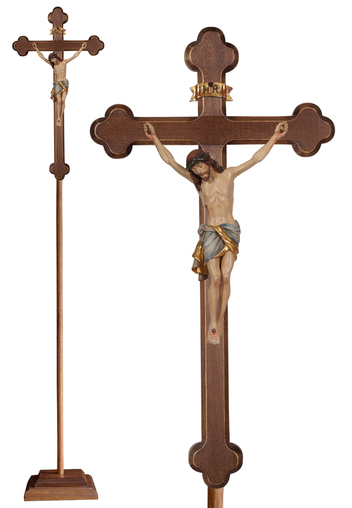 Wood Processional Crucifix | Lightweight | 75 inches | Budded Cross, Siena Corpus