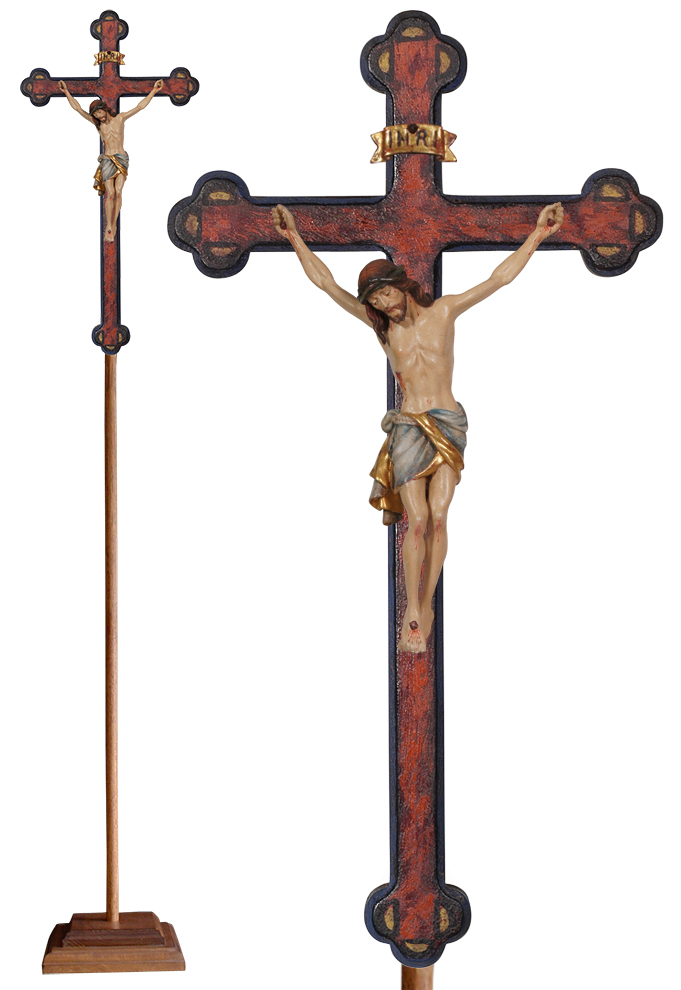 Wood Processional Crucifix | Lightweight | 75 inches | Budded Baroque Cross, Siena Corpus