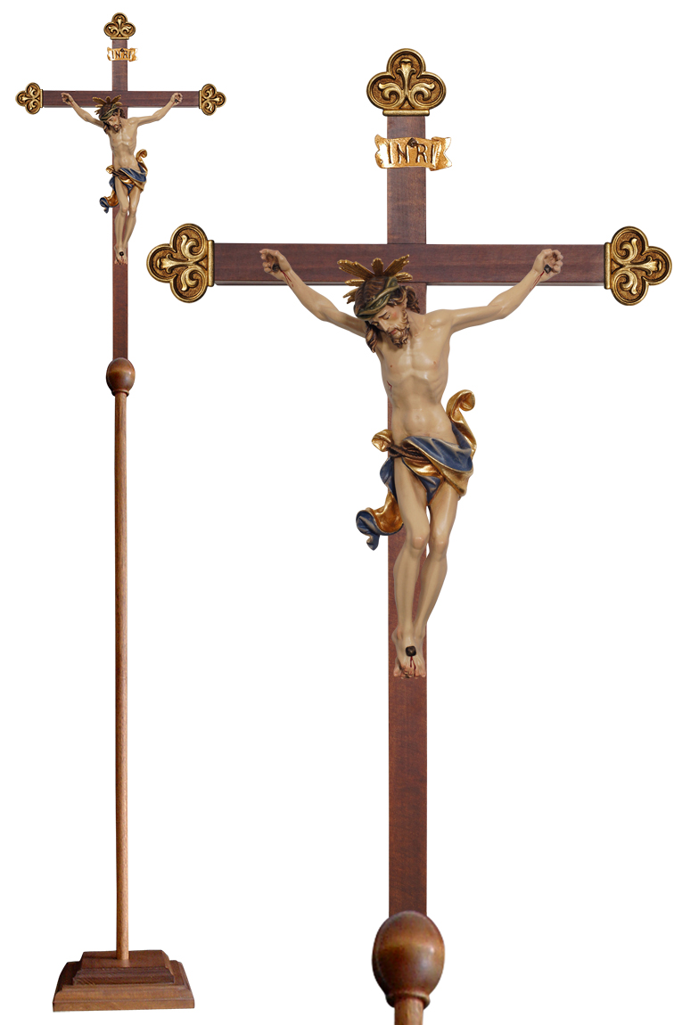 Wood Processional Crucifix | Lightweight | 81 inches | Gold Budded Cross, Leonardo Corpus